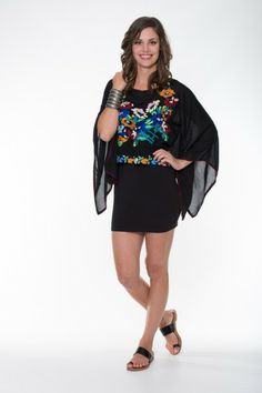 Violet Top – Black Ladli Australia  Beautifully Embroidered Top, Hand Blanket Stitched on super soft wood bark fabric.