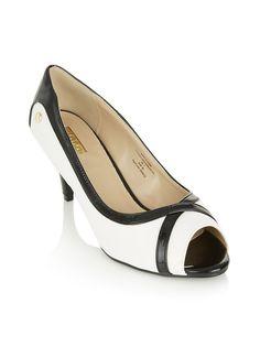 Peep-toe Midi Heels Black/White