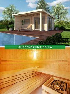 Außensauna Garten: Massiv und modern, so könnte man unsere Außensauna Bella auf den ersten Blick beschreiben. Doch hinter dieser Fassade kann unsere Sauna auch ein Rückzugsort, zum Entspannen, Erholen und Seele baumeln lassen sein. Genau so etwas suchen Sie? Dann erfahren Sie jetzt mehr! #Sauna #Garten #Außensauna Outdoor Sauna, Outdoor Decor, Wellness, Garden Landscaping, Modern, Garage Doors, Deck, Relax, Landscape