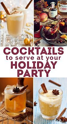 7 Cocktails to serve at your Holiday Party!  from a Cranberry Old Fashioned and Mulled Wine to a Gingerbread Martini to Cider Nog and more!  Click to get all the cocktail recipes