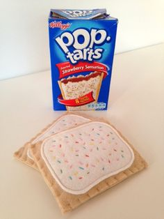 Every child loves to play with pretend food and this set of two pop tarts would make a great addition to any play kitchen.    Each pop tart