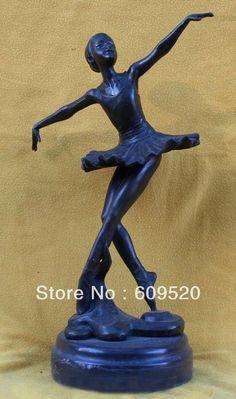"12"" Marble Bronze Art Western Girl Belle Dance Ballet Statue Figure Sculpture-in Crafts from Home & Garden on Aliexpress.com"