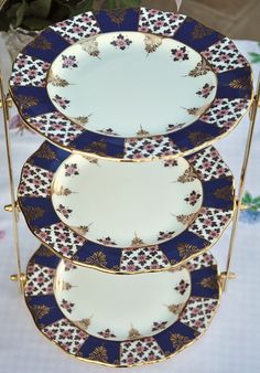 3 Tier Tea Room Cake Stand Blue, Pink and Gold by cake-stand-heaven, via Flickr