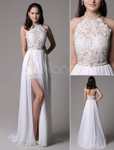 Prom Dresses Boho, White Prom Dresses 2018 Long Ivory Halter Backless Evening Dress Lace Applique Beading Chiffon Split Party Dress Shop prom dresses Boho,such as beading prom pieces prom dresses,chiffon prom dress,lace prom dresses Lace Ball Gowns, Lace Evening Dresses, Lace Dress, Hot Dress, Chiffon Dress, Dress Red, Lace Chiffon, White Chiffon, Evening Gowns