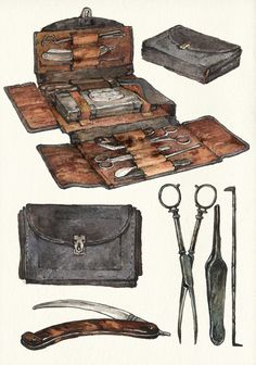 Zionka's surgery kit by Zionka leather wallet pouch briefcase scissors knife scalpel tweezers pick straight razor equipment gear magic item | Create your own roleplaying game material w/ RPG Bard: www.rpgbard.com | Writing inspiration for Dungeons and Dragons DND D&D Pathfinder PFRPG Warhammer 40k Star Wars Shadowrun Call of Cthulhu Lord of the Rings LoTR + d20 fantasy science fiction scifi horror design | Not Trusty Sword art: click artwork for source