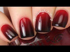Easy Red to Black Gradient Tutorial Diy Red Nails, Black Ombre Nails, Red Nail Art, Gradient Nails Tutorial, Glitter Gradient Nails, Galaxy Nails, Gold Nail Designs, Simple Nail Art Designs, Nails Design