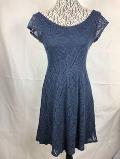 9bfa4185b62d0 Anthropologie Deletta Women's Navy Blue Floral Lace Dress Size Small Cotton  34 #Deletta