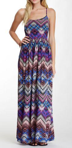 Strappy Print Maxi Dress