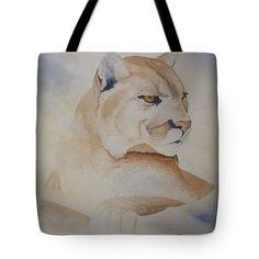 Richard Faulkner Tote Bags - Cougar on Watch Tote Bag by Richard Faulkner