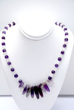 Amethyst and Rose Quartz Necklace with Amethyst Earrings. Purple. Amethyst. Quartz. Necklace. Sterling Silver. Set. Sets. Pink. White by flashinfashinjewelry. Explore more products on http://flashinfashinjewelry.etsy.com