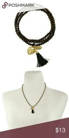 """🛍🎂B-day Sale! Offer 50% off bundle of 2+🎂🛍 """"Starlet"""" 2 in 1 necklace and bracelet. Elastic beaded bracelet with fabric tassel and charms adds a relaxed charm to your everyday look. Wrap 2-3 times around your wrist or wear as a necklace. Sparkling bronze beads. Gold tone charms. Lia Sophia Jewelry"""