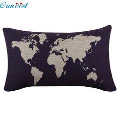 Homey Design  30cm x 50cm Cotton & Linen Dark Blue World Map Burlap Pillow Cases Pillowcase Covers Decoration Pillowcase 17a8 #Affiliate