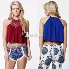 Women Sexy Hollow Out Sleeveless Loose Lace Patchwork Casual Crop Top Tank Top
