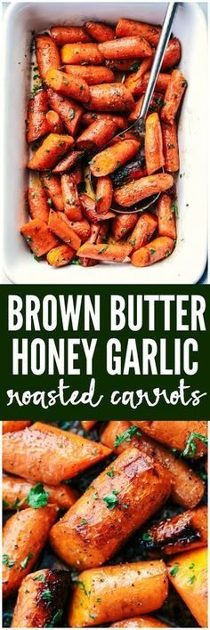 Roasted Brown Butter Honey Garlic Carrots make an excellent side dish. Roasted to tender perfection in the most incredible brown butter honey garlic sauce these will become a new favorite! Check out this brown butter honey garlic carrots! Side Dish Recipes, Veggie Recipes, Vegetarian Recipes, Dinner Recipes, Cooking Recipes, Healthy Recipes, Garlic Recipes, Chicken Recipes, Natural Food Recipes