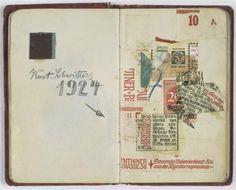 archives-dada: Kurt Schwitters, Carnet de Nina Kandinsky : Page du carnet de Nina Kandinsky, 1924, papiers collés, 10,4 x 13 cm, Paris, Centre Pompidou.