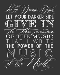 MUSIC of the NIGHT Phantom of the Opera by modernhomeprints