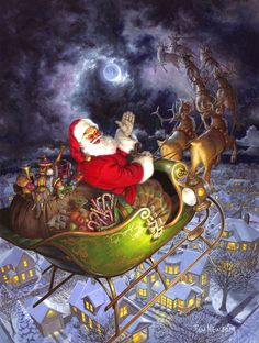 christmas scenes Flying high in the sky with a sleigh full of toys, Santa wishes the town below a ho ho ho and a Merry Christmas to All as he heads off to the next town on this moonlit night. An Easy Handling 275 large pieces puzzle.