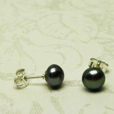 Black pearl stud earrings 6mm sterling silver post cultured freshwater   ShanghaiTai - Jewelry on ArtFire