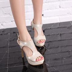 Fashion PU Upper Stiletto Heels Platform Women Sandals with Rhinestones Stiletto Sandals