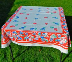 Vintage fruit tablecloth grapes pears cherries by 3SisterzJewelry, $18.00