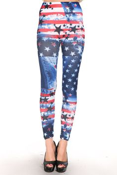 Print Blue Star Red Striped Flag Leggings