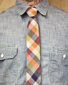Orange Blue Plaid tie