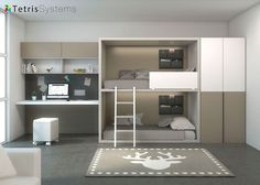 Dormitorio juvenil: Zona estudio con litera Rubbik y armario fondo 100 | Doble litera Rubbik con escaleras metálicas y bolsa porta objetos opcional. Iluminación LED, armar
