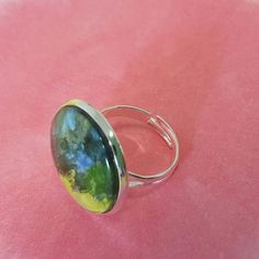 Impressionistic Blue and Green Miniature Art in adjustable silver plated Ring Little Elm, Cool Gifts For Women, Impressionist Paintings, Silver Plate, Gemstone Rings, Handmade Jewelry, Jewelry Design, Jewelry Making, Miniatures