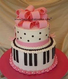 Piano cake with polka dots and pink ribbons. I like the name of the site it came from!