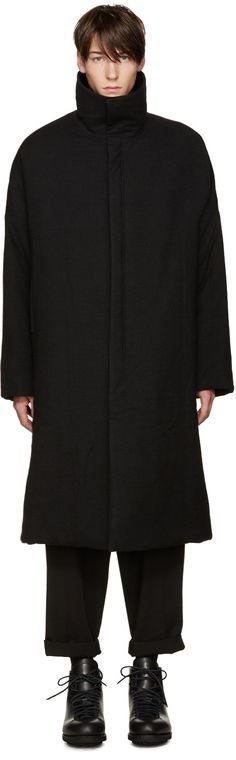 YOHJI YAMAMOTO Black Padded Coat. #yohjiyamamoto #cloth #coat