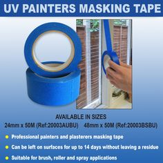 UV Painters Masking Tape - suitable for brush, roller and spray applications. Available from www.directa.co.uk