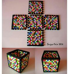 Cute box made from hama or perler beads Hama Beads 3d, Hama Beads Design, Diy Perler Beads, Perler Bead Art, Melty Bead Patterns, Pearler Bead Patterns, Perler Patterns, Beading Patterns, Quilt Patterns