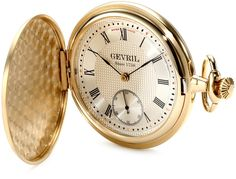 "Gevril Men's G624.995.56 ""1758 Collection"" Mechanical Hand Wind Swiss Pocket Watch. Swiss movement: Mechanical hand-wound. Fine textured dial with second sub dial. Blue hands, numbers in black Roman numerals. Brass case, satined, rose gold coated. Savonette pocket watch."