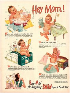 "1945 Vintage Ad SWAN Soap Baby Ad Art, WWII Era 1940's Household Products, 1940's Housewife, Swan Art Baby Art Frameable Wall Art 8""x10"""
