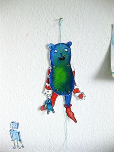 Mit diesem Hampelmonster wirst Du viel Spass haben. Die Puppe in Konrads Hand wird separat befestigt und hängt bei den Hampelbewegungen immer unten...