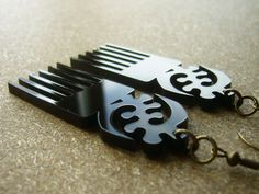 Black Afro Comb Duafe Adinkra Gye Nyame Earrings