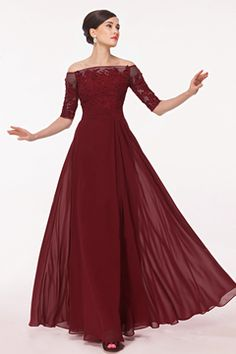 2016 Prom Dresses Burgundy/Maroon Boat Neck Mid-Length Sleeve With Applique And Beads Chiffon US$ 159.99 BFPAQ97TP6 - BlackFridayDresses.com