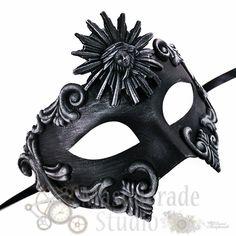 Black Gold Vintage Roman Army Bold Male Party Mask