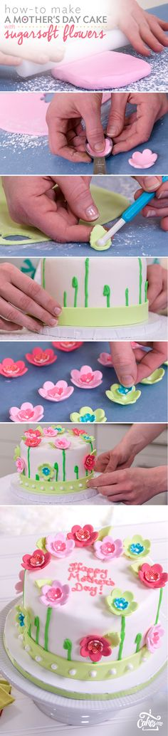 Learn how to make a fondant flower cake for Mother's Day with tasty SugarSoft flowers (yum!)