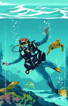 Alexander Wells | Dynamic Illustrations | Folio illustration agency Scuba Diving Pictures, Scuba Diving Quotes, Scuba Diving Mask, Sea Diving, Diving Suit, Horse Diving, Diving Logo, Diving School, Underwater Art