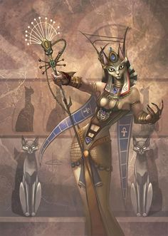 Bastet was a goddess in ancient Egyptian religion, worshipped as early as the Second Dynasty (2890 BC). As Bast, she was the goddess of warfare in Lower Egypt, the Nile River delta region, before the unification of the cultures of ancient Egypt. Her name is also spelled Baast, Ubaste, and Baset