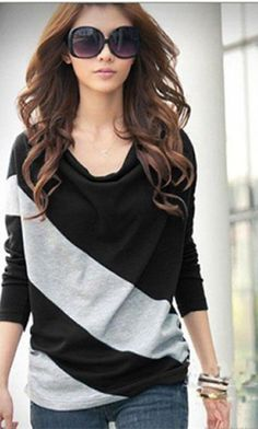 dfe3c6ac513 Elegant and Comfortable Diagonal Stripes Long Sleeves Cotton Blends Women s  T-Shirt Fashion Outfits