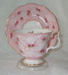 Vintage Shabby Pink Teacup and Saucer Set