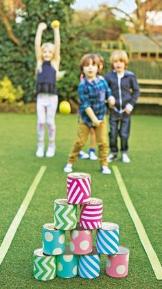 Save this tutorial to make this entertaining tin can bowling family lawn game on Easter day.
