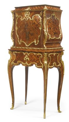 ♔ A LOUIS XV STYLE GILT BRONZE MOUNTED KINGWOOD, SATINÉ AND END CUT FLORAL MARQUETRY SECRÉTAIRE À ABATTANT PARIS, CIRCA 1885 THE FALL FRONT OPENING TO A GILT-TOOLED LEATHER WRITING SURFACE AND A KINGWOOD LINED INTERIOR WITH ONE SHELF ABOVE AN ARRANGEMENT OF FOUR SMALL DRAWERS AND TWO COMPARTMENTS. https://www.pinterest.com/moonshooter1