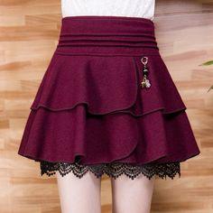 S-4XL Black/Dark Red High Waist Woolen Bubble Skirt SP168543