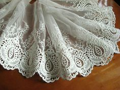 off white lace trim, embroidered lace, retro lace, scalloped trim lace, cotton lace fabric