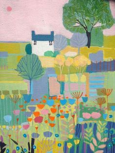Original Acrylic Painting on Canvas House with Flowers - Signed Annabel Burton   eBay