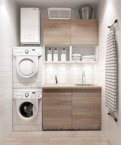 Small laundry: The best ideas for a small laundry! - laundry: The best ideas for a small laundry!Small laundry: The best ideas for a small laundry! Modern Laundry Rooms, Modern Room, Modern Closet, Modern Living, Laundry Room Organization, Laundry Room Design, Design Kitchen, Laundry Storage, Closet Storage