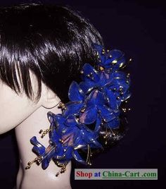 Thailand Blue Hair Decoration Flower for Women